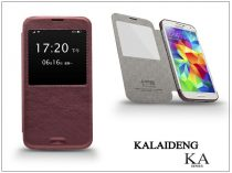 Samsung SM-G900 Galaxy S5 flipes tok - Kalaideng Ka View Series - dark red