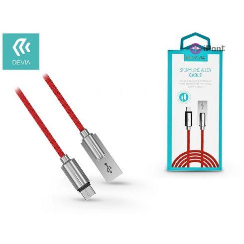 USB - USB Type-C adat- és töltőkábel 1 m-es vezetékkel - Devia Storm Zinc Alloy USB Type-C 2.0 Cable - red