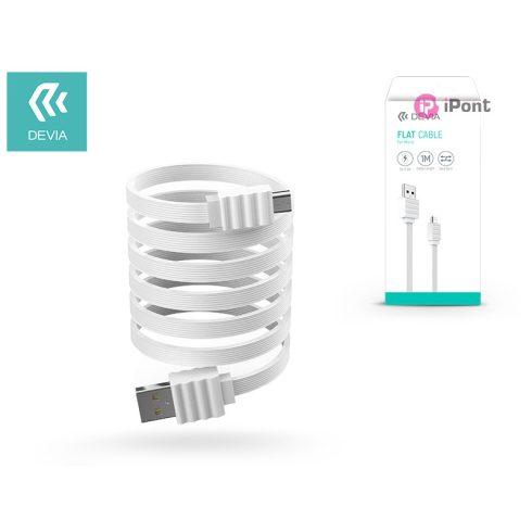 USB - micro USB adat- és töltőkábel 1 m-es vezetékkel - Devia Flat Cable USB 2.0 - white