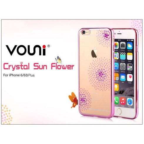 Apple iPhone 6 Plus/6S Plus hátlap kristály díszitéssel - Vouni Crystal Sun Flower - rose pink