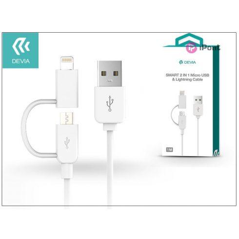 USB - micro USB + Lightning adat- és töltőkábel 1 m-es vezetékkel - Devia Smart 2in1 Charging Cable USB 1.0 - white
